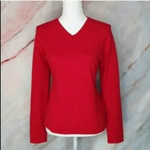 VALERIE STEVENS Red 2 Ply Cashmere Sweater L